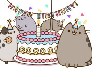 pusheen's birthday party  play the free game online, Birthday card