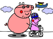 Coloring Peppa Pig Bike Ride